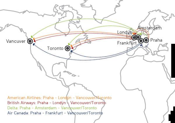 trasy letů do Kanady